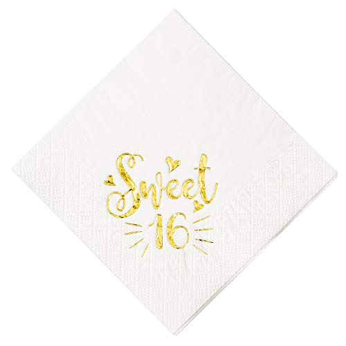 Crisky Sweet 16 Cocktail Napkins for 16th Birthday Decorations Candy Table Decor, Beverage Napkins Sweet 16 Birthday Supplies, 50 Pcs, 3-Ply, Gold, 4.9