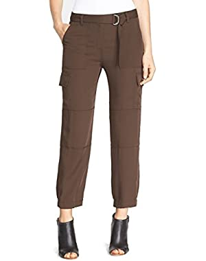 Theory Hannon Modern Silk Georgette Crop Pants, Armadillo Brown - Size 2