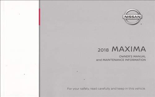 2018 Nissan Maxima Owner's Manual Original