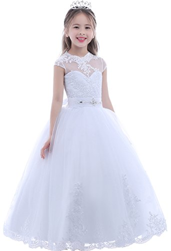 Dobelove Girl's White Full Length Scoop Pageant First Communion Dress,White,6 for $<!--$79.59-->