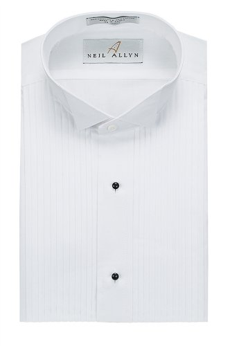 Neil Allyn Men's Tuxedo Shirt Poly/Cotton Wing Collar 1/4 Inch Pleat,White,3X-Large (19