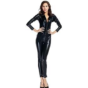 - 313NCTDW0WL - Ensnovo Womens Shiny Metallic Lycra Spandex Shirt Collar Zipper Catsuits