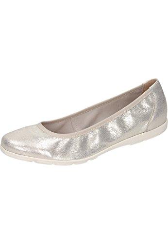Caprice Damen 22150 Geschlossene Ballerinas Weiß (Offwht Glitter 112)