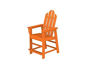 """50.5"""" Recycled Earth-Friendly Outdoor Adirondack Counter Chair - Orange"""
