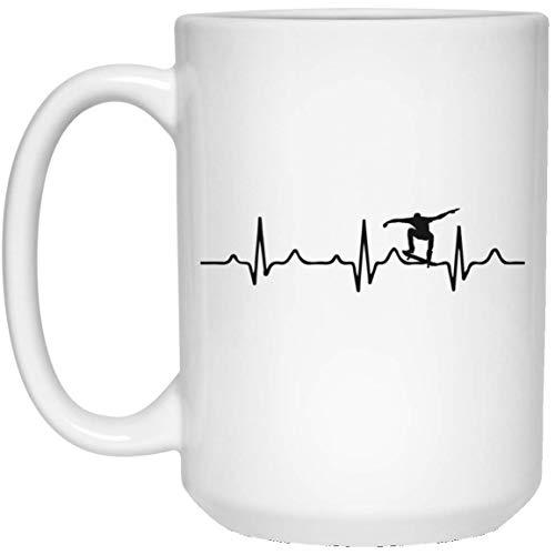Kingdom Creations Skateboard Heartbeat Skaters Coffee Mug Cup, 15 oz, -