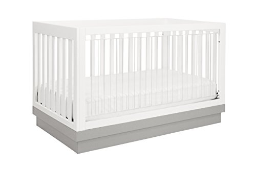 Babyletto Harlow 3-in-1 Convertible Crib, White with Grey Acrylic
