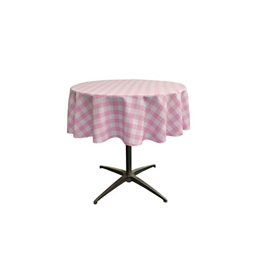 LA Linen Poly Checkered Round Tablecloth, 51-Inch, Pink/White ()