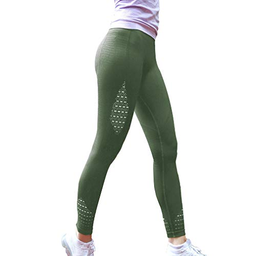 Mujer Moda Pantalones Deportivos, Cintura Elástico Pantalón Transpirables Casual Aptitud Slim Skinny Leggings Jeggings Pantalones Ejercito Verde