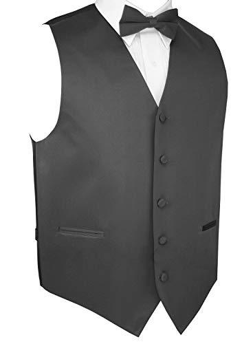 (Italian Design, Men's Tuxedo Vest, Bow-Tie & Hankie Set in Charcoal - 4XL)
