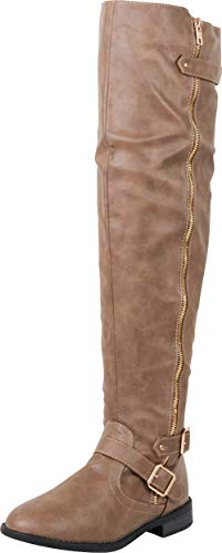 Cambridge Select Women's Thigh-High Strappy Buckle Riding Over The Knee Boot,9 B(M) US,Taupe PU ()