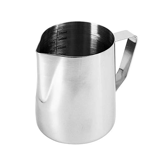 ss Steel Milk Frothing Pitcher Milk Jug Pitcher for Milk Cream Espresso Water Juices Smoothies (B-20oz) ()