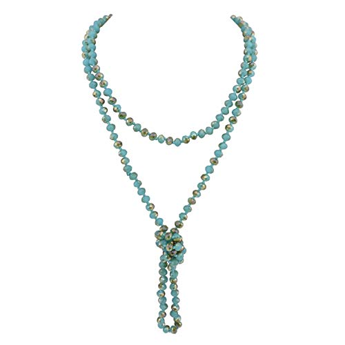 Glass Bead Long Necklace - Firstmeet Fashion Glass Beads Rope Knot Long Necklace for Women (XL-1030)