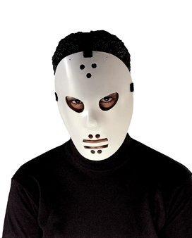 Hockey Goalie Jason Molded PVC With Glow Face Adult Costume Mask (Hockey Mask Jason)