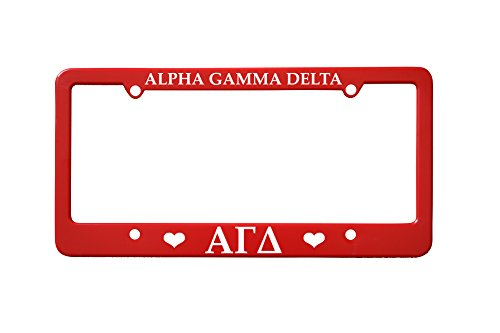 Officially Licensed Alpha Gamma Delta License Plate Frame - Red with Hearts (License Delta Plate Frame)