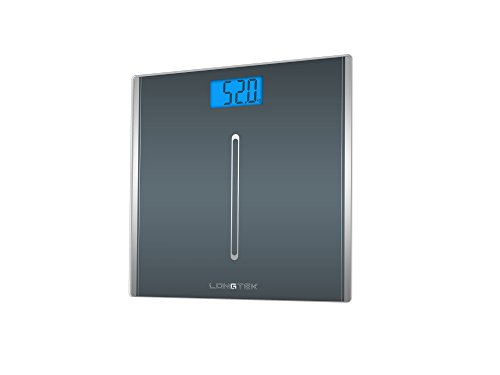 Longtek Bathroom, Digital Weighting Scale, Tempered Glass Body Weight Scale, High Accuracy Digital, 400 lb., Elegant Gray by Longtek