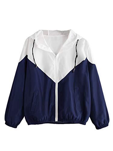 Milumia Women's Color Block Drawstring Hooded Zip Up Sports Jacket Windproof Windbreaker X-Large Multicolor-6