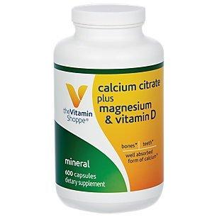 The Vitamin Shoppe Calcium Citrate Plus Magnesium   Vitamin D  600 Capsules