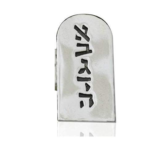 Nadav Art Sterling silver Tallit Clips inspired by the two tablets of stone of the ten commandments with Hebrew lettersאבגדה וזחטי