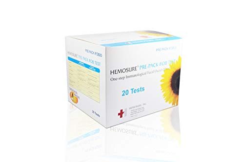 Hemosure Immunochemical Fecal Occult Blood Test (iFOBT) Complete Package with 20 Tests, 20 Collection Tubes, 20 Mailers, PRE-Packed IFOB20 (Box of 20)