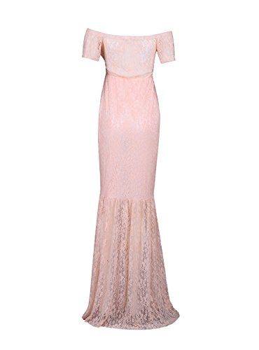JustVH Women's Off Shoulder V Neck Short Sleeve Lace Maternity Gown Maxi Photography Dress