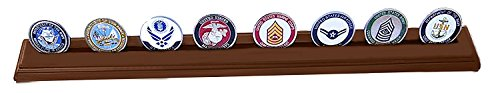 DECOMIL Military Collectible Challenge Coin Holder (Large, 1 Rows) Solid Walnut by DECOMIL