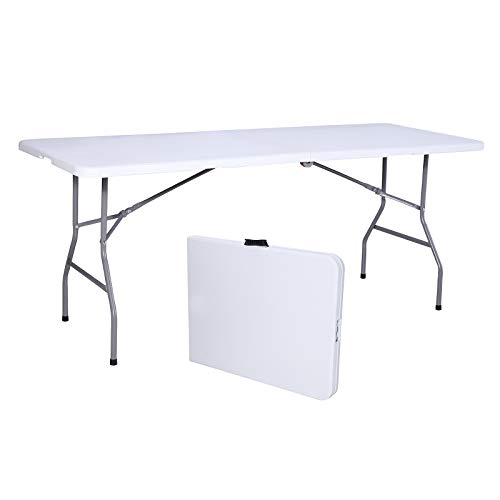 Uenjoy 6 Portable Folding Table Plastic Indoor Outdoor Picnic Party Camp Dining White