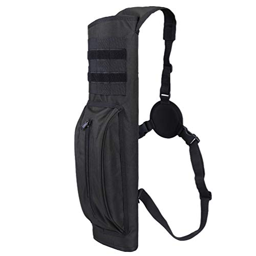 (XTACER Heavy Duty Arrow Tactical Quiver Hunting Training Archery Arrow Target Quiver Holder Shoulder Bag Pouch, Back Quiver with Molle System (Black - with Molle Webbing) )