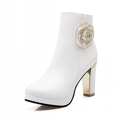 RTRY Zapatos De Mujer De Piel Sintética Pu Novedad Moda Otoño Invierno Confort Botas Botas Chunky Talón Puntera Redonda Botines/Botines De Flores Por Parte &Amp; US6.5-7 / EU37 / UK4.5-5 / CN37