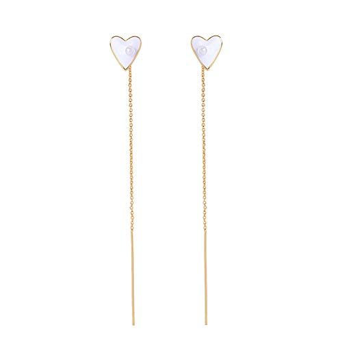 IUTING Trendy Cute Red Black White Enamel Heart Adjustable Drop Earring Long Earring Fine Jewelry ()