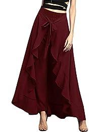 f852dc57308cd Women's Ruffle Plain Wide Leg Split Tie-Waist Maxi Long Palazzo Overlay  Pant Skirts