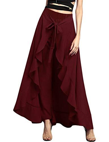 SEBOWEL Women's Ruffle Plain Wide Leg Split Tie-Waist Maxi Long Palazzo Overlay Pant Skirts Wine Red L