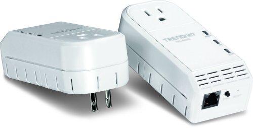 TRENDnet 500 Mbps Powerline Ethernet AV Adapter Kit with Bonus Outlet TPL-402E2K (White) by TRENDnet