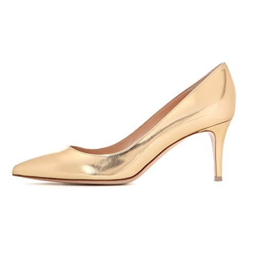 Eldof Pumps Office 6 5cm Mid Heel Toe Classic HeelPumps Womens Heels Gold Heels Kitten Pointy fTanfrU