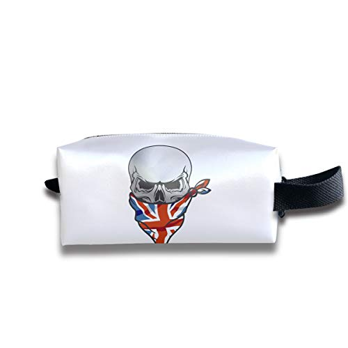 Clash Durable Zipper Wallet Makeup Handbag With Wrist Band UK Flag Skull Toiletry Bag ()