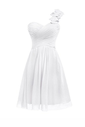 Kurz Party One Brautjungferkleider Fanciest Ivory Damen Shoulder Wedding for w6qxt14
