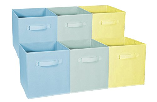 Sorbus Foldable Storage Cube Basket Bin - Great for Nursery, Playroom, Closet, Home Organization (Multi - Blue Green Yellow, 6 Pack)