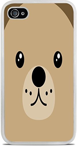 Cooliphone4Cases.com-2843-Teddy Bear Face Cute White Silicone Case for iPhone 4 / 4S by Moonlight Printing-B01KW1KOVG-T Shirt Design