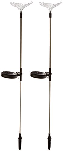 GSL SS E2174 Butterfly Stake Solar Changing Lights (Set of 2)