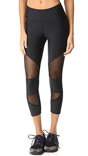 SEASUM Women Yoga Capris Mesh Joggers Workout Running Pants Pilate Tights Fitness Compression Leggings Stretch M,2mesh Black,Medium - Air Capri Leggings