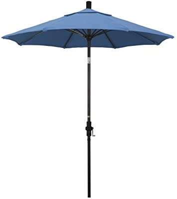 California Umbrella 7.5 Round Aluminum Pole Fiberglass Rib Market Umbrella, Crank Lift, Collar Tilt, Bronze Pole, Capri