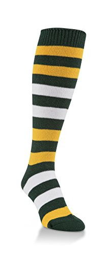 Worlds Softest Striped Team Womens Over the Calf Socks One Size Fits Most (Green/Gold/White)