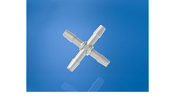 Eldon James X0-3-200NK Natural Kynar Cross Connector Fitting Pack of 10 3//16 Hose Barb Pack of 10 3//16 Hose Barb