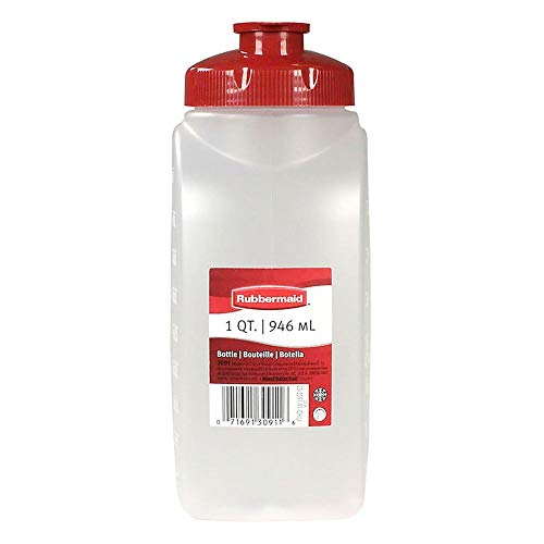 - Rubbermaid 1776348 MixerMate Clear 1 Qt Bottle with Chili Red Lid