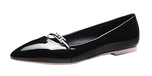 queenfoot Pumpqqa1 - Mocasines de Material Sintético para mujer B-Black patent