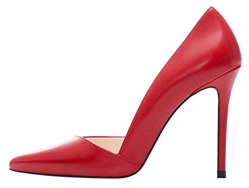 DYF Zapatos de Color Sólido de Gran Tamaño Fino Afilado Tacón Boca Superficial, 10cm,Red,42