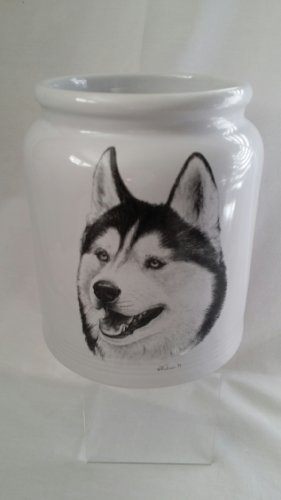 White Utensil Crock with Husky Dog Art Graphic from Porcelain by Rosalinde The Best of Show Special Collector's Edition (Siberian Husky Porcelain)