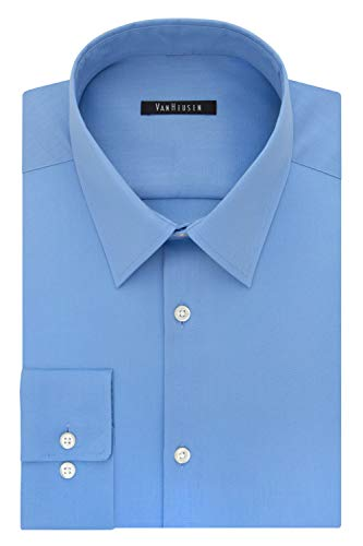 Van Heusen Men's Dress Shirt Slim Fit Flex Collar Stretch Solid, Blue Frost, 15