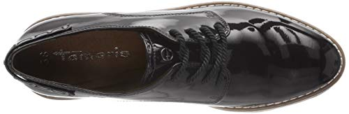 18 Mujer Negro Oxford 21 Cordones de para 23304 Patent Zapatos Tamaris Black OwpPq