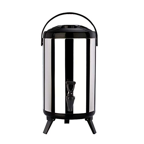 Retyion Stainless Steel Insulated Barrel with 3 Foldable Legs Coffee Thermos Beverage Dispenser 8 Liters for Restaurants or Beverage Shop