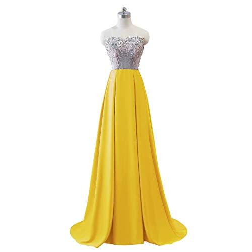 Frauen Kleider Mermaid Doppel V Ausschnitt Formale Gold Lange Party Abendkleid aAxqa8F